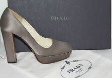 PRADA WOMEN'S DESIGNER PLATFORM HEELS LEATHER & GREY SATIN SIZE 35.5 EU/3 UK