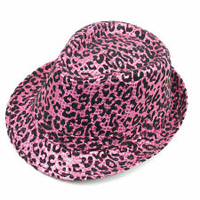Leopard Print Ladies Hat Pink & Black Retro Style Hats Halloween Party