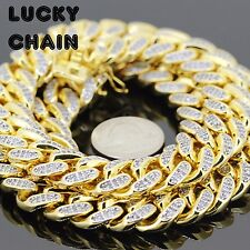 "30""18K GOLD FINISH ICED OUT LAB DIAMOND CUBAN LINK HEAVY CHAIN 15mm 372g A19"