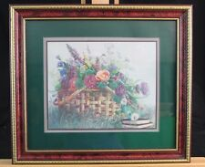 Bettie Hebert Felder Basket of Flowers Print Signed & Framed