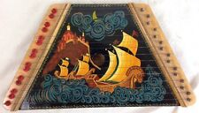 Vintage Antique Russian Naval Scene Zither Lacquer Lap Harp Painted + Music Sets