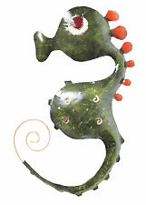 Metal Wall Art /SCULPTURE Wall-mounted LAMPSHADE Green SEA-HORSE 50 cm high, new