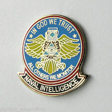 US NAVY NAVAL INTELLIGENCE IN GOD WE TRUST OTHERS WE MONITOR LAPEL PIN BADGE 1""