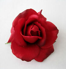 """4"""" Romantic Red Rose,Poly Silk Flower Hair Clip,Rockabilly,Bridal,Pin Up,Updo"""