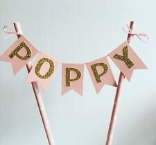 Pink And Gold Personalised Cake Bunting Girls Birthday 1st Birthday Cake Topper