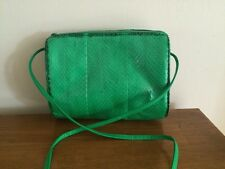 Vintage Mundi Bright Green Snakeskin Top Zip Bag Crossbody Purse NEW VTG