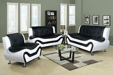Beverly Furniture MODERN Faux Leather BLK/WHITE 3pcs Sofa, Loveseat &Chaise Set.