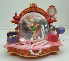 RARE Disney Tinkerbell THE PINK VANITY Musical Snowglobe in Original Box