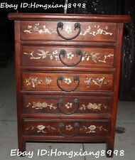 """23"""" Chinese Ancient Wood inlay Shell Bird Birds Magpie plum blossom Cupboard Box"""