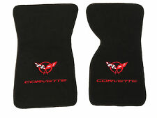 C3 Corvette Floor Mats Black Plush Carpet W/Double Logo in Red Fits 1968-1982