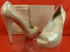 NIB MIU MIU PRADA NUDE BLUSH PATENT LEATHER PEEP TOE PLATFORM PUMPS 39 8.5