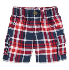 NEW Gymboree Baby Boys 3-6 mos 4th of July Red Blue Plaid Cotton Shorts