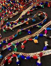 7 metros Multicolor Perla Bead frontera Sari Flecos Borlas Dupatta cose en ajuste