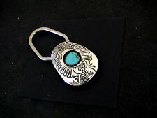 Auth.Native American Indian Navajo Turquoise/Sterling Key Ring by Shirley Skeets