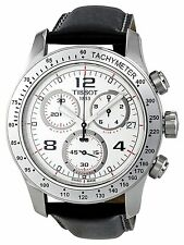 Tissot T0394171603702 T-Sport V8 Chronograph White Dial Men Black Leather Watch