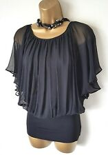 COAST GOTHIC Black Silk Batwing Angel Top 12 Party Evening NWOT