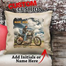 Personalised Harley Rider Motorbike Vintage Cushion Custom Canvas Gift NC103