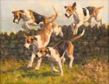 Foxhound dog, hunting Christmas cards pack of 10. C445x Over and On