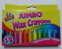 12 JUMBO WAX CRAYONS BRIGHT ASSORTED COLOURS NON TOXIC