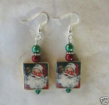 Santa Claus Earrings Vintage Altered Art Image Christmas Day Scrabble St. Nick