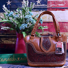 WRLG-8005 Montana West Genuine Tooled Leather (Part) Conceal Carry Handbag Purse