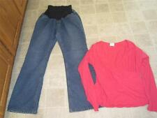 Motherhood MATERNITY sz M high waist bootcut jeans & Mimi top sz L LOT b8