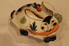 FITZ AND FLOYD SPOTTED RABBIT BOWL DISH White & Black w/ Carrot / EASTER BUNNY