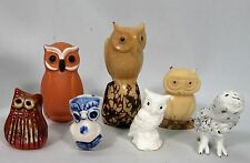 Owl Figurines Lot of 7 Various Materials Some Vintage