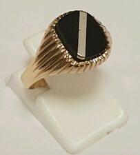 (1)BEAUTIFUL GENTS 9CT SOLID GOLD ONYX SIGNET BANDED RING FULL HALLMARK