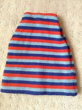 Vtg COLIN 100% Wool Blue Red Striped Knit Beanie Ski Winter Hat~Montreal Canada