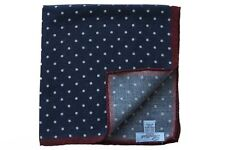 Battisti Pocket Square Navy with white polkadot & burgundy trim, pure wool