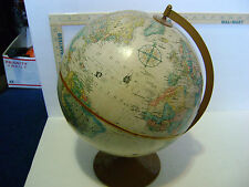 VINTAGE 12 INCH GLOBEMASTER REPLOGLE WORLD GLOBE with Relief Nautical