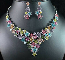 COLORFUL FLOWERS AUSTRIAN RHINESTONE CRYSTAL BIB NECKLACE EARRINGS SET N1720
