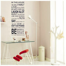 Family Rules Removable Vinyl Wall Stickers Mural Decal Quotes Art Home Decor