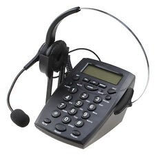 Business Telephone With Corded Headset Call Center Phone Dial pad LCD Display