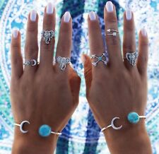 Elephant Luck Turquoise Stack Rings Tibetan Antique Silver Gypsy Boho Midi #21A