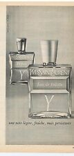 PUBLICITE ADVERTISING 104 1966 YVES SAINT LAURENT eau de toilette 'Y'