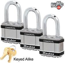 """Master Lock 2""""W MAGNUM Padlock,1-1/8""""L Shackle (3)Keyed Alike Locks M5NKASTSLF-3"""