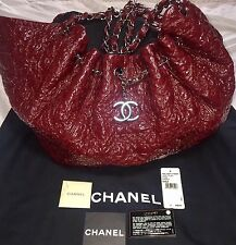Auth CHANEL Large Bordeaux Puzzle Patent Leather Drawstring Tote Bag