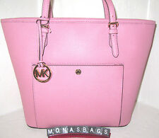 Michael Kors Jet Set Misty Rose Pink Leather Large Snap Pocket Tote Bag NWT $228