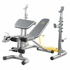 Gold's Gym Olympic Weight Lifting Body Home Fitness Workout Bench Squat Curl Set