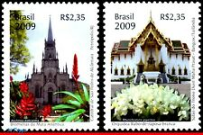 3074-75 BRAZIL 2009 THAILAND DIPLOMATIC RELATIONS, FLOWERS, CHURCHES, SET MNH