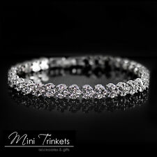 925 Silver Crystal Rhinestone Diamante Gem Bridal Wedding Tennis Bracelet Gift