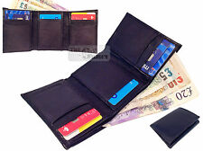 Gents Real Leather Credit Card Wallet Trifold Slots Slim Fold Purse Notes Mini