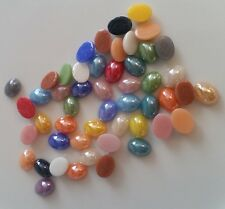50 OVAL GLASS CABOCHONS 8x6mm ~ Flatbacked ~ Pearlised Glass ~ Assorted colours