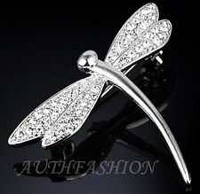 ABL11 Womens Swarovski Crystal Brooch Pin Silver Rhodium Plated Lovely Dragonfly