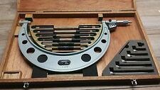"MINT MITUTOYO NO . 340 712 INTERCHANGEABLE MICROMETER 6 - 12 ""  .0001"" SET"