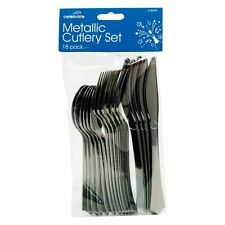 18 x Silver Metallic Cutlery Set Party Forks Knifes Spoons Disposable UK