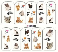 NAIL art adesivo acqua trasferimenti Decalcomanie Decorative I LOVE CATS (bop206)