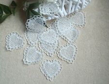 12 Beautiful Vintage Applique Ivory Hearts Guipure Lace Crochet Sew on Wedding